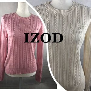 IZOD 2PC Set Cable Knit Sweaters M